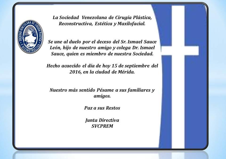 Obituario y nuestro sentido pésame por deceso del Sr. Ismael Sauce León