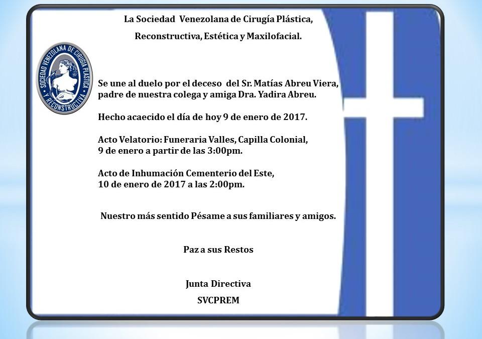 Obituario del Sr. Matías Abreu Viera, padre de nuestra colega y amiga Dra. Yadira Abreu