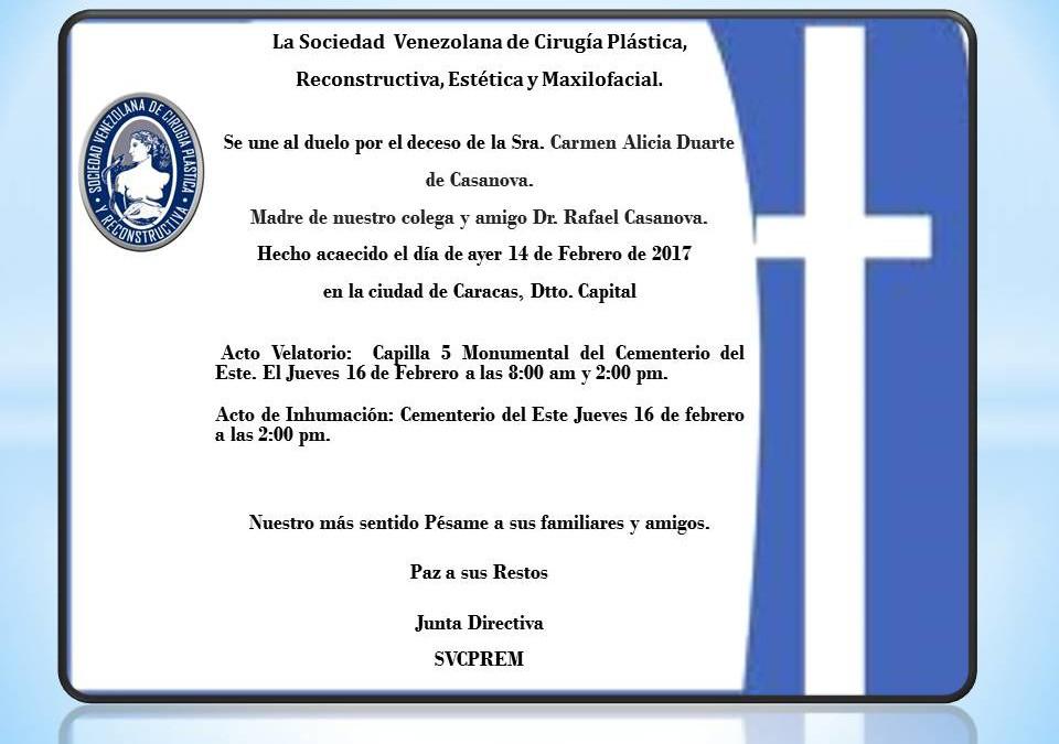 Obituario Sra. Carmen Alicia Duarte de Casanova