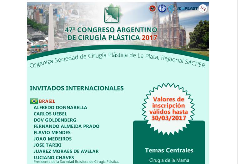 47º Congreso Argentino de Cirugía Plástica 2017, 9 al 12 de mayo.