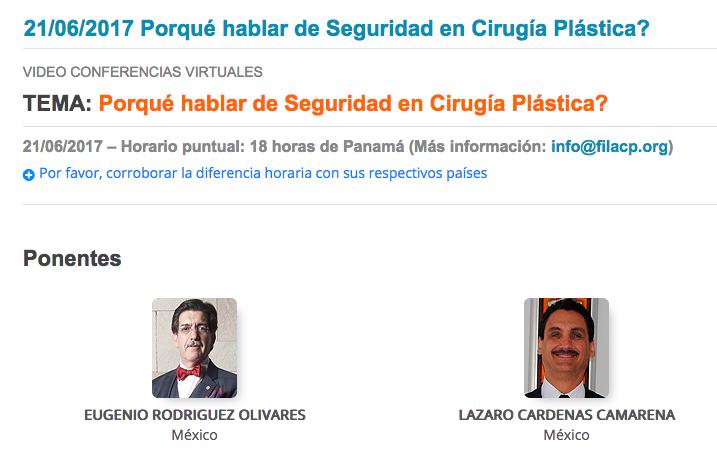 Próxima videoconferencia de la FILACP: ¿Por qué hablar de Seguridad en Cirugía Plástica?, 21 de junio, 7:00 p.m.
