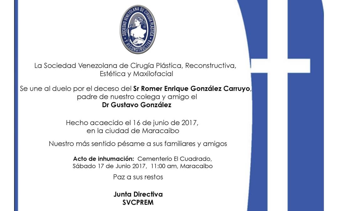 Estamos en duelo por el deceso del Sr. Romer Enrique González Carruyo