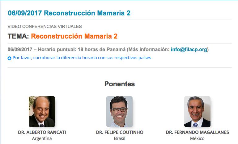 Ciclo de videoconferencias FILACP: Reconstrucción Mamaria 2. Septiembre 02. 7:00 pm