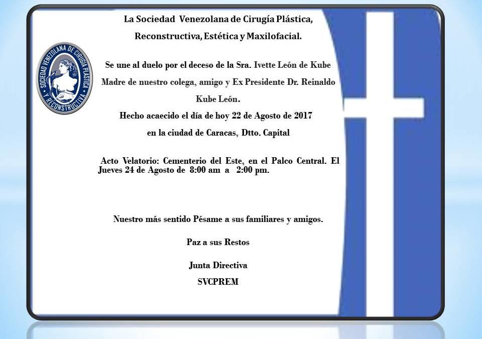 Obituario de la Sra. Ivette León de Kube