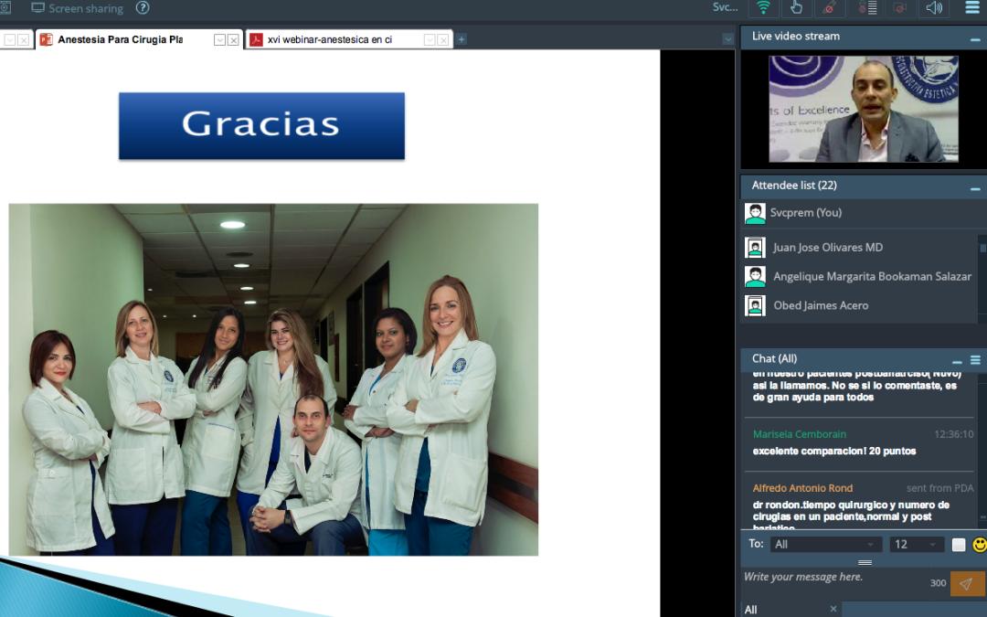 Anestesia en Cirugía Plástica: Dr. Obed Jaimes. Realizado exitosamente nuestro XVI Webinar: