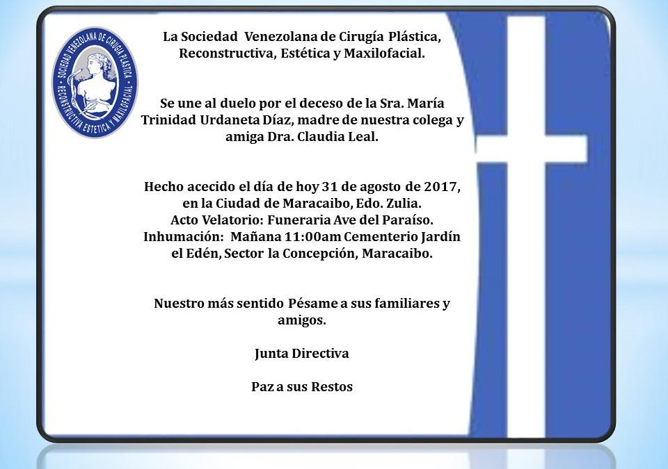 Duelo por el deceso de la Sra. María Trinidad Urdaneta Díaz