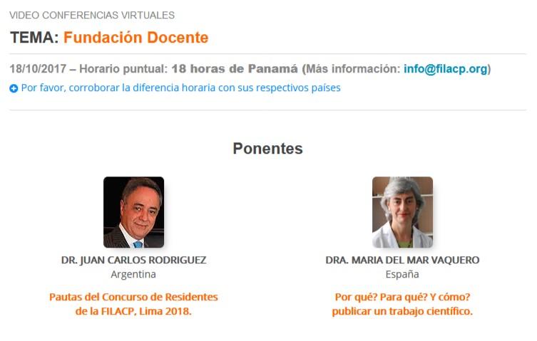 """Próxima videoconferencia de la FILACP: """"Fundación Docente"""". 18 de octubre, 2017"""