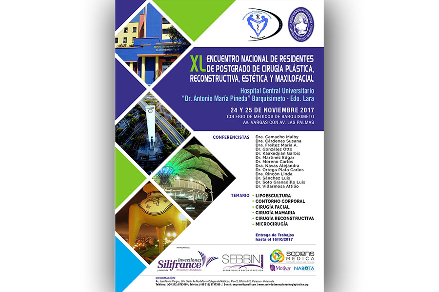 XL Encuentro Nacional de Residentes de Cirugía Plástica, Reconstructiva, Estética y Maxilofacial, Barquisimeto, 24-25 de noviembre