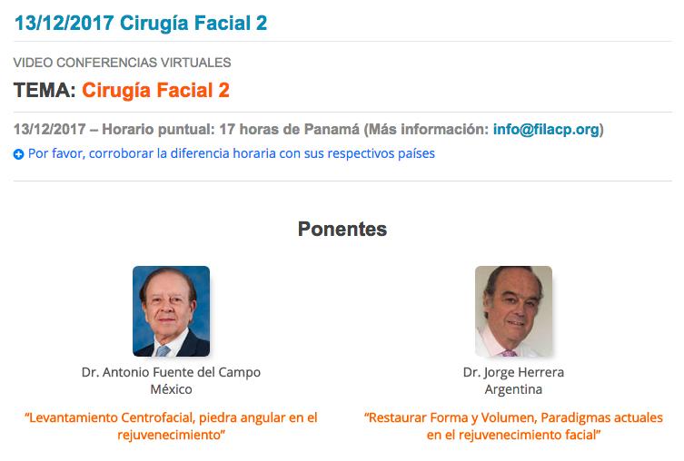 Videoconferencia FILACP Cirugía Facial 2